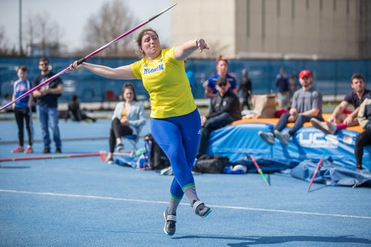 Alexis Lipnicky won the CAA javelin throw for Delaware.