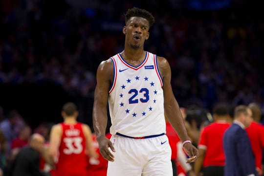 Jimmy Butler #23 of the Philadelphia 76ers reacts against the Toronto Raptors in the first quarter of Game Four of the Eastern Conference Semifinals at the Wells Fargo Center on May 5, 2019 in Philadelphia.