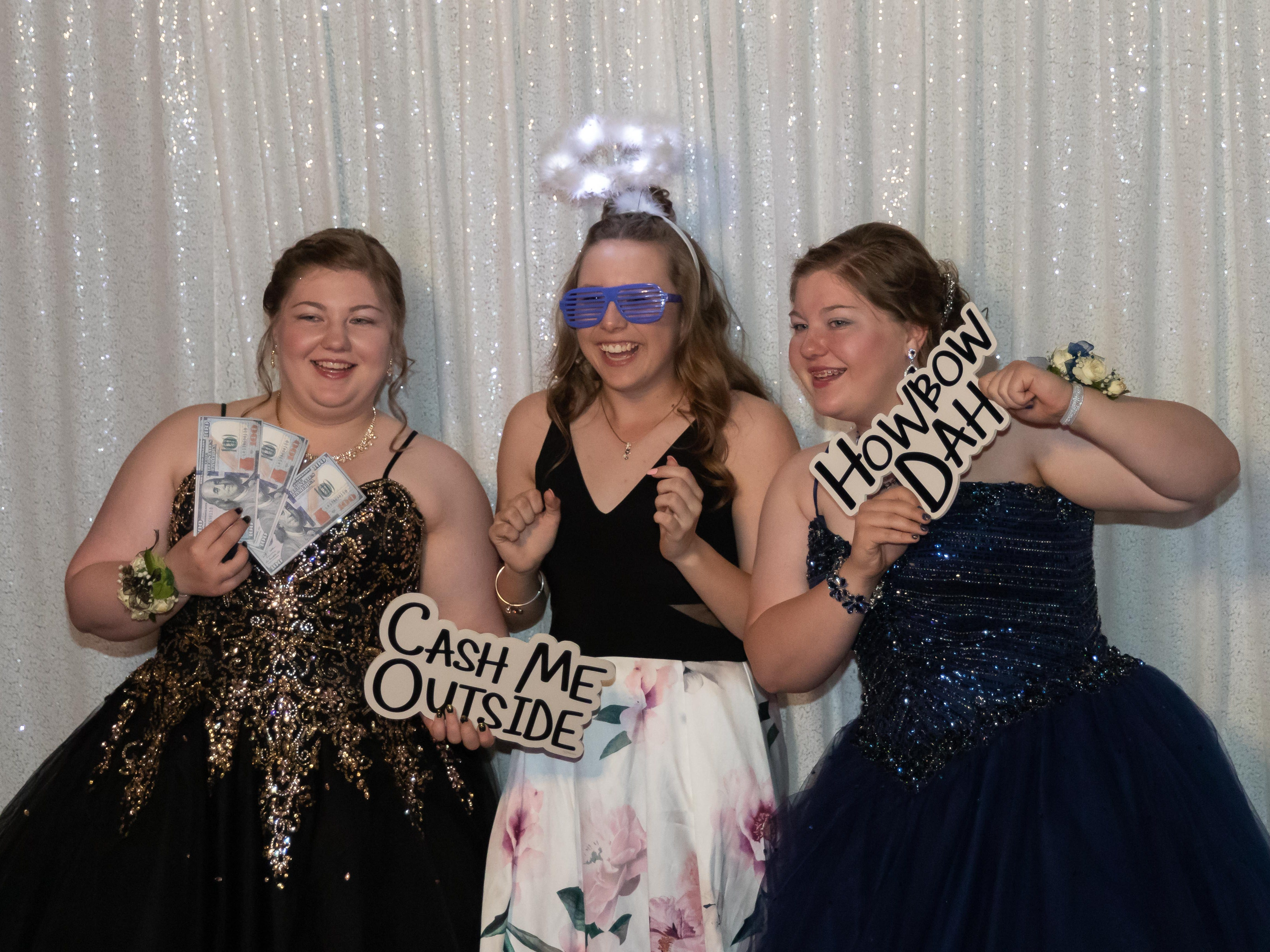 Students pose for a photo during the Lincoln High School prom on Saturday, May 4, 2019, at the high school in Wisconsin Rapids.