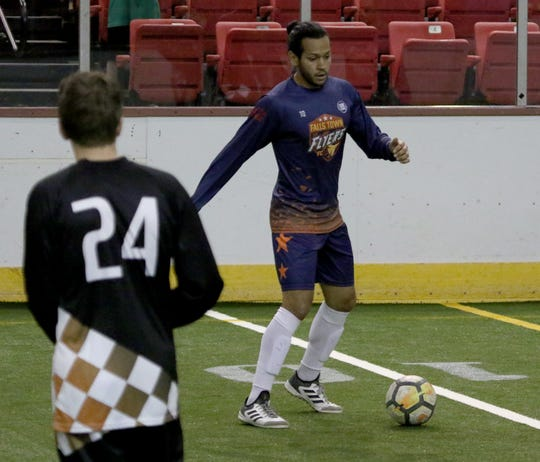 Wichita Falls Flyers' Flavio Guzman moves to pass in the match against the Lubbock Renegades at the Saturday, May 4, 2019, at Kay Yeager Coliseum.