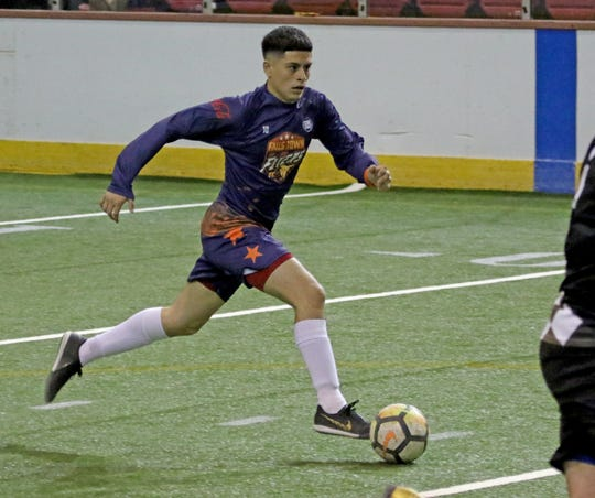 Wichita Falls Flyers' Alex Ramirez dribbles in the match against the Lubbock Renegades at the Saturday, May 4, 2019, at Kay Yeager Coliseum.