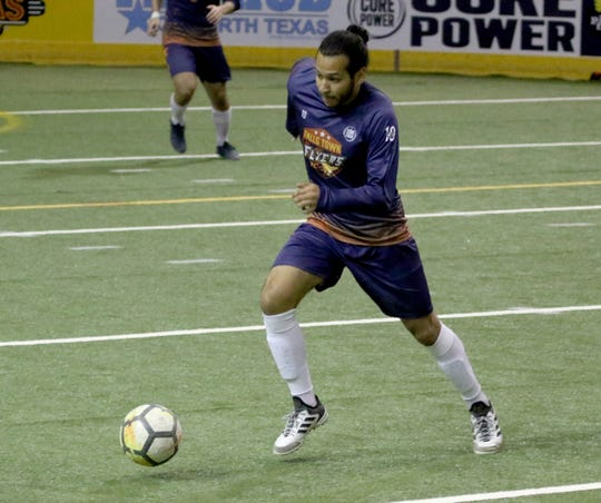 Wichita Falls Flyers' Flavio Guzman dribbles in the match against the Lubbock Renegades at the Saturday, May 4, 2019, at Kay Yeager Coliseum.