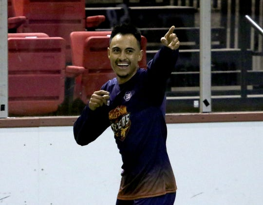 Wichita Falls Flyers's Ivan Castañeda celebrates his goal against the Lubbock Renegades at the Saturday, May 4, 2019, at Kay Yeager Coliseum.