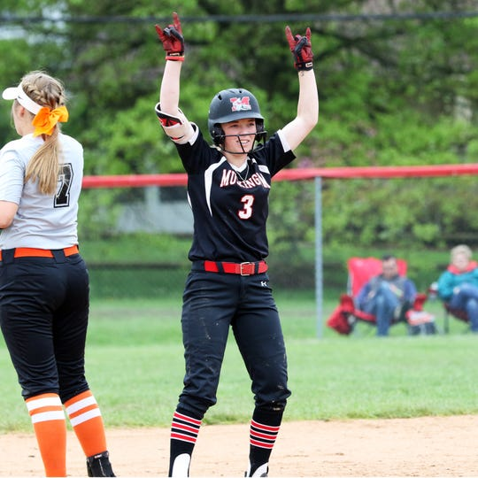 Muskingum's Krissy Hughes points to her teammates after hitting a sixth-inning double during a 2-1 loss against Ohio Northern on Saturday in an Ohio Athletic Conference Tournament game at Donna Newberry Field. Hughes' hit was one of only two Muskie hits.