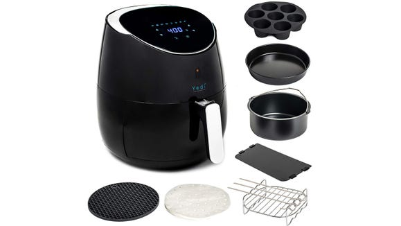 This air fryer comes with everything you need to cook meals for the whole family.