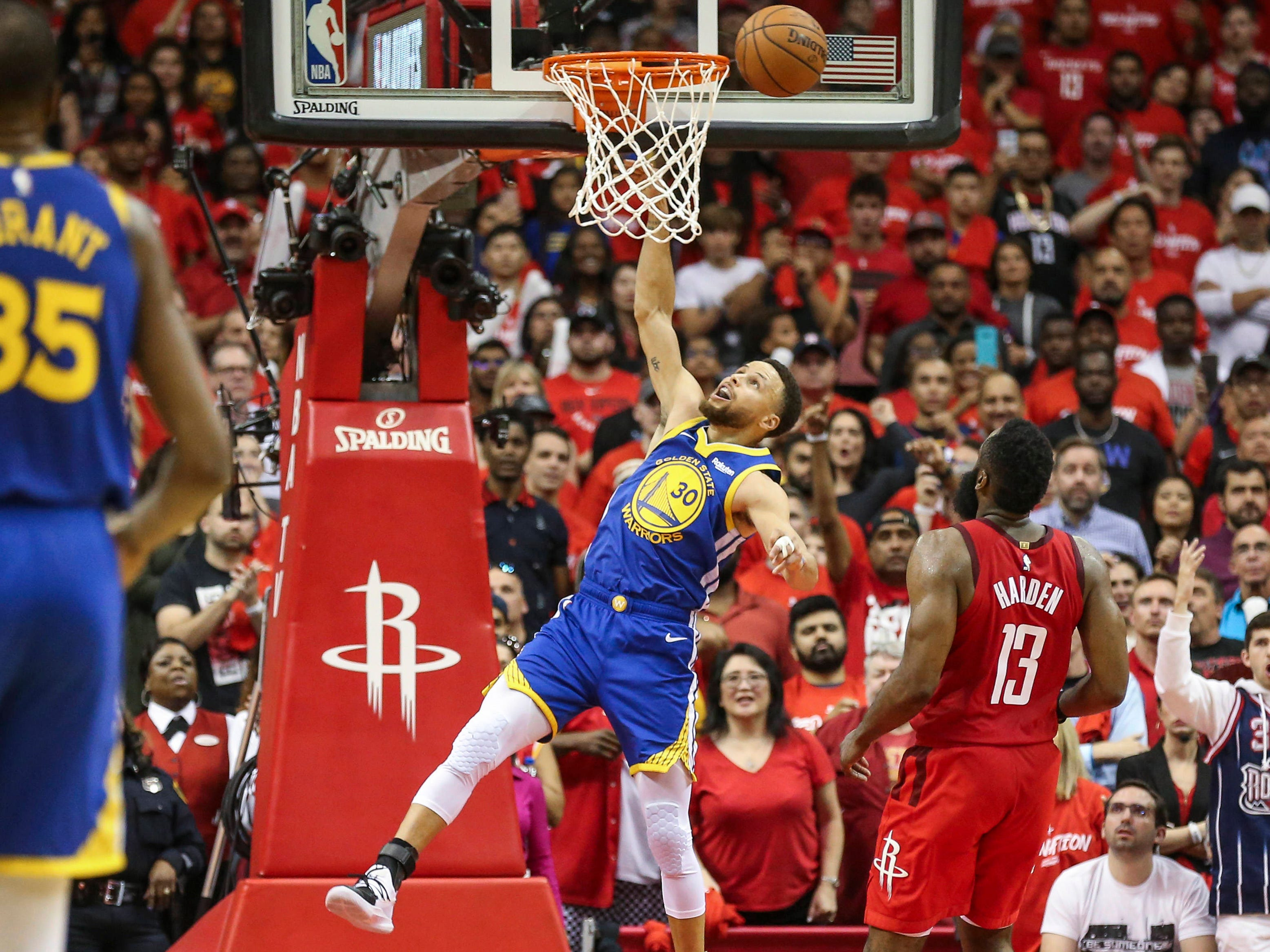 May 4: Warriors guard Steph Curry (30) misses a dunk attempt during Game 3 against the Rockets.