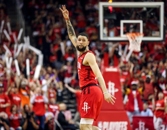 Rockets guard Austin Rivers celebrates after scoring a three-point basket during the fourth quarter against the Warriors in Game 3 of their second-round series.