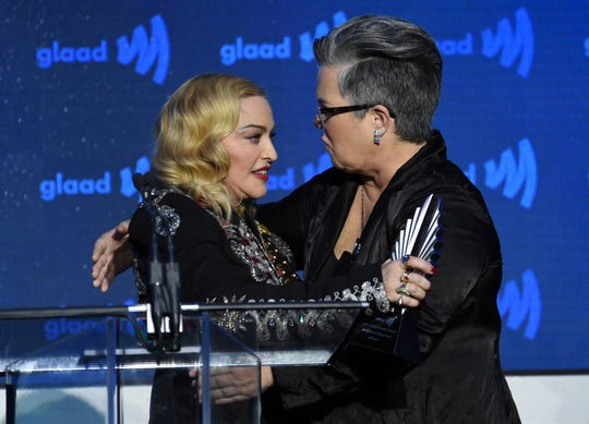 Rosie O'Donnell, right, embraces Madonna at the GLAAD Media Awards. O'Donnell spoke about how Madonna helped her become more comfortable in her own skin.