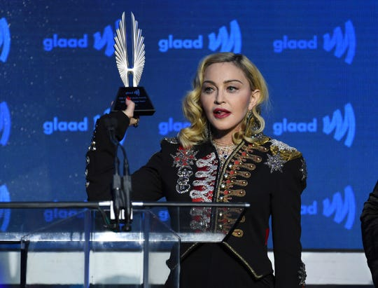 Honoree Madonna accepts the Advocate for Change Award at the 30th annual GLAAD Media Awards on Saturday in New York