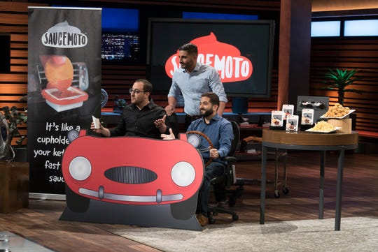 "Cleveland entrepreneurs William Moujaes, Tony Lahood and Michael Koury present Saucemoto, their handy device that helps you enjoy fast-food condiments on the go, on ""Shark Tank."""