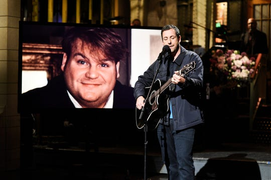 """Adam Sandler sang a touching tribute to his friend Chris Farley as host of """"Saturday Night Live."""""""