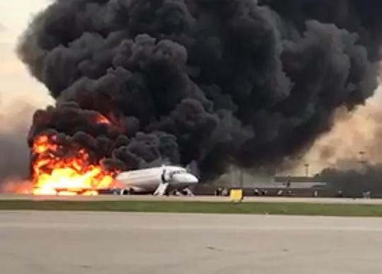 This handout picture taken and realeased on May 5, 2019, by the Investigative Committee of Russia shows a fire of a Russian-made Superjet-100 at Sheremetyevo airport outside Moscow.