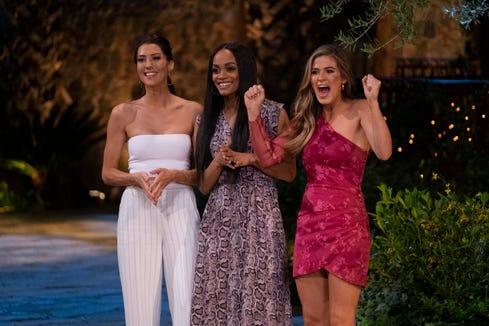 """THE BACHELORETTE - """"Bachelorette Reunion: The Biggest Bachelorette Reunion in Bachelor History Ever!"""" - In anticipation of Hannah Brown's journey as the next Bachelorette, viewers will celebrate 15 seasons of romance with Chris Harrison as he hits the road in a double-decker bus with Bachelor Nation super fans, revisiting some of the most iconic date spots from """"The Bachelor"""" and """"The Bachelorette"""" history. The momentous occasion will culminate with a Bachelorette reunion like no other, with special surprises along the way, on """"The Bachelorette Reunion: The Biggest Bachelorette Reunion in Bachelor History Ever!,"""" a two-hour special airing MONDAY, MAY 6 (8:00-10:01 p.m. EDT), on The ABC Television Network. (ABC/John Fleenor)BECCA KUFRIN, RACHEL LINDSAY, JOELLE """"JOJO"""" FLETCHER"""
