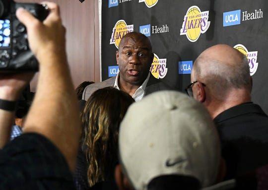 Magic Johnson stepped down as Lakers president of basketball operations in a bizarre impromptu press conference in April.