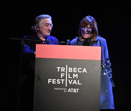 """Tribeca co-founders Robert De Niro, left, and Jane Rosenthal introduce """"Yesterday."""""""