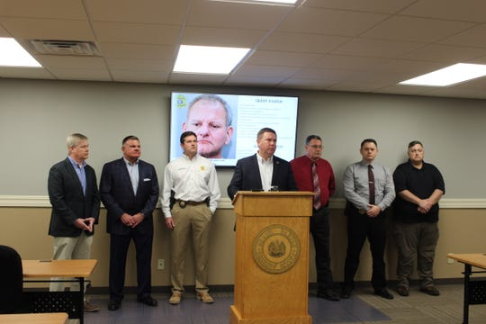 Grant Parish Sheriff Steven McCain (center) speaks about Justin Grant Walters at a Monday press conference. Law enforcement in Grant and Rapides parishes believe there are more victims of Walters who haven't talked to them, and they're asking people to contact them.