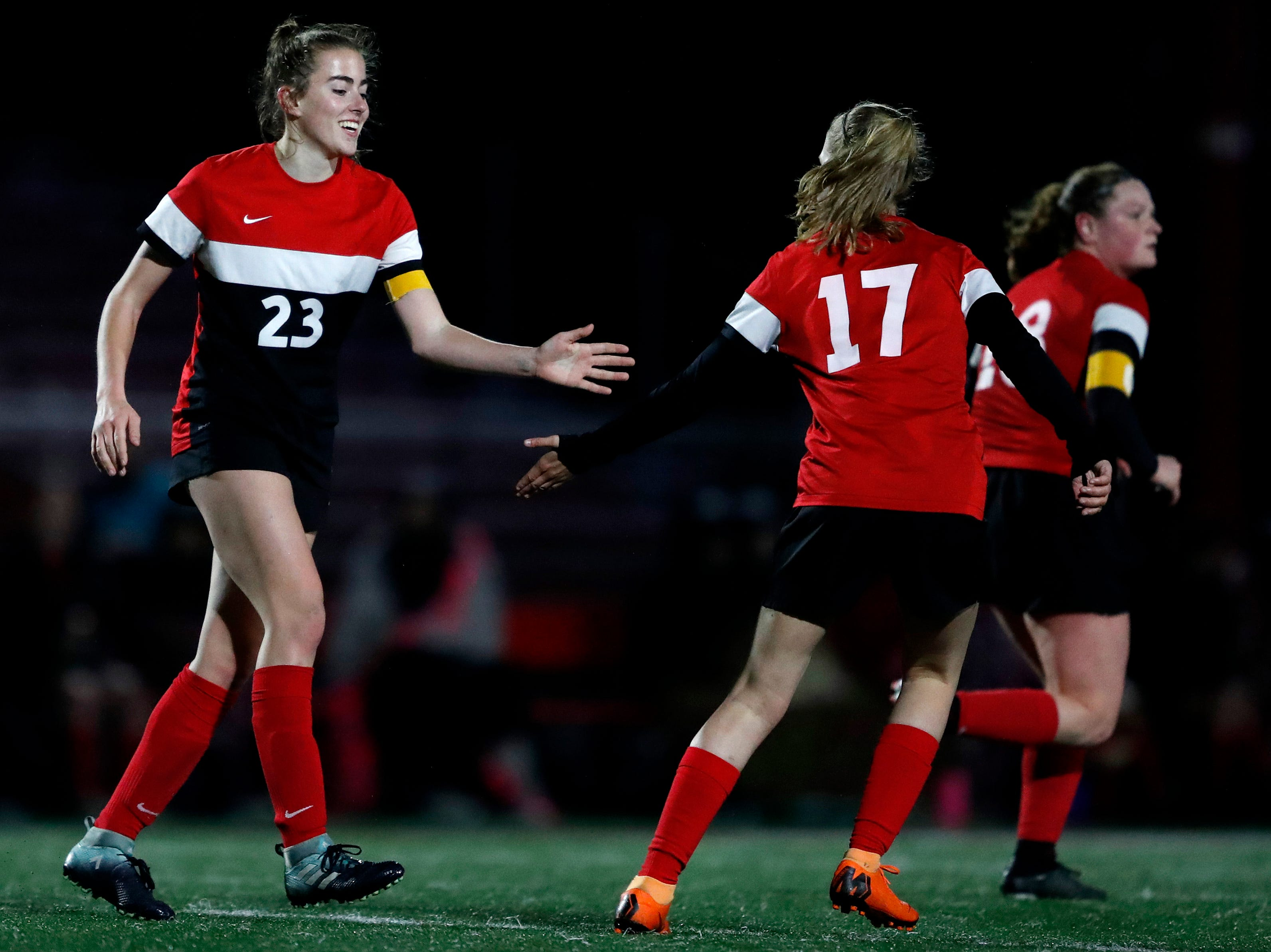 Kimberly High School's Elsi Twombly celebrates with Taylor Ziebell after Twombly scored her second goal of the night against Neenah High School Tuesday, April 30, 2019, in Kimberly, Wis. Kimberly defeated Neenah 3-0.Danny Damiani/USA TODAY NETWORK-Wisconsin
