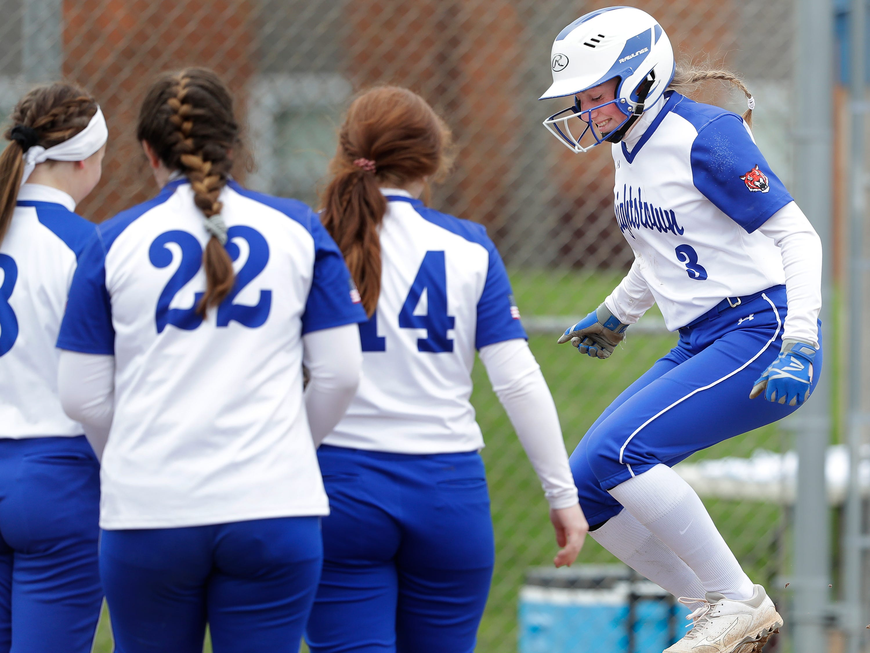 Wrightstown High School's #3 Elizabeth Langlois crosses the plate after hitting a homerun against Little Chute High School during their softball game on Friday, May 3, 2019, in Little Chute, Wis. Little Chute defeated Wrightstown 6 to 1.Wm. Glasheen/USA TODAY NETWORK-Wisconsin.