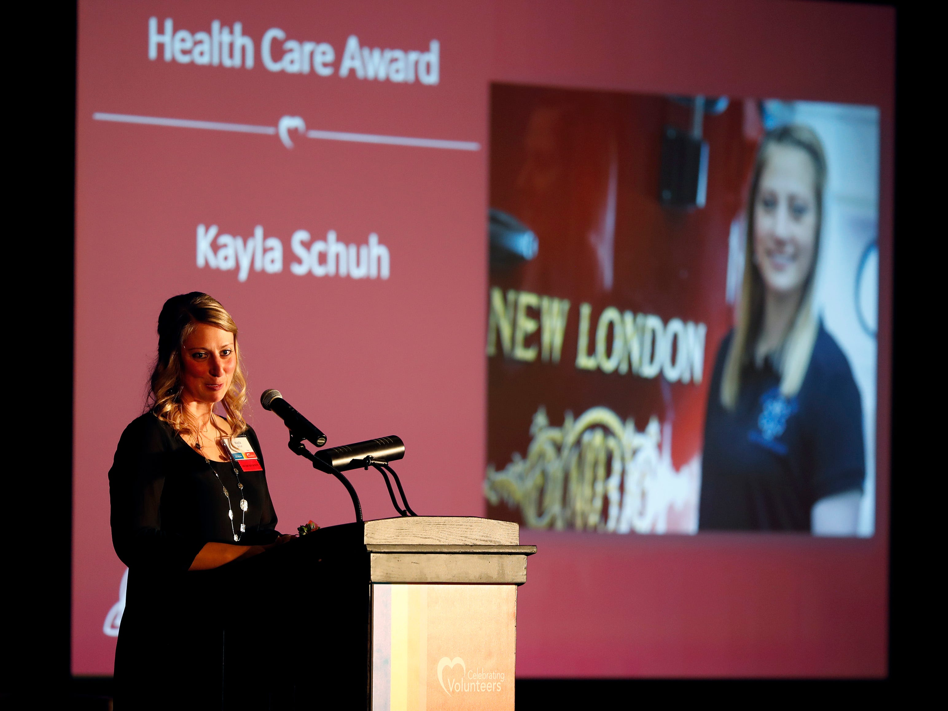 Kayla Schuh gives a speech after receiving the Health Care Award during the 22nd Annual Celebrating Volunteers Community Gala Wednesday, May 1, 2019, at the Red Lion Hotel Paper Valley in Appleton, Wis. Danny Damiani/USA TODAY NETWORK-Wisconsin