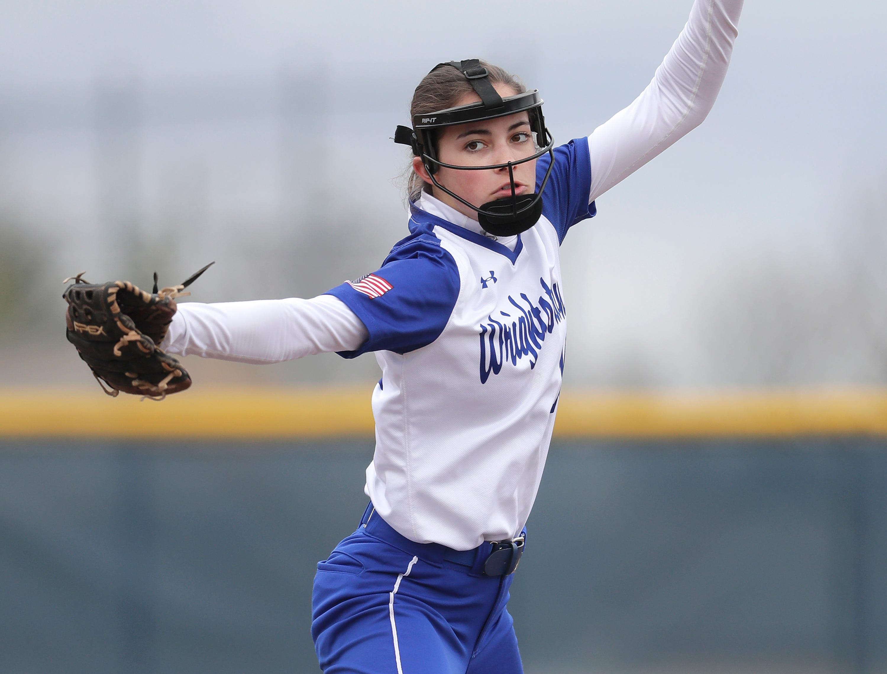 Wrightstown High School's starting pitcher #10 Ella Romenesko against Little Chute High School during their softball game on Friday, May 3, 2019, in Little Chute, Wis. Little Chute defeated Wrightstown 6 to 1.Wm. Glasheen/USA TODAY NETWORK-Wisconsin.
