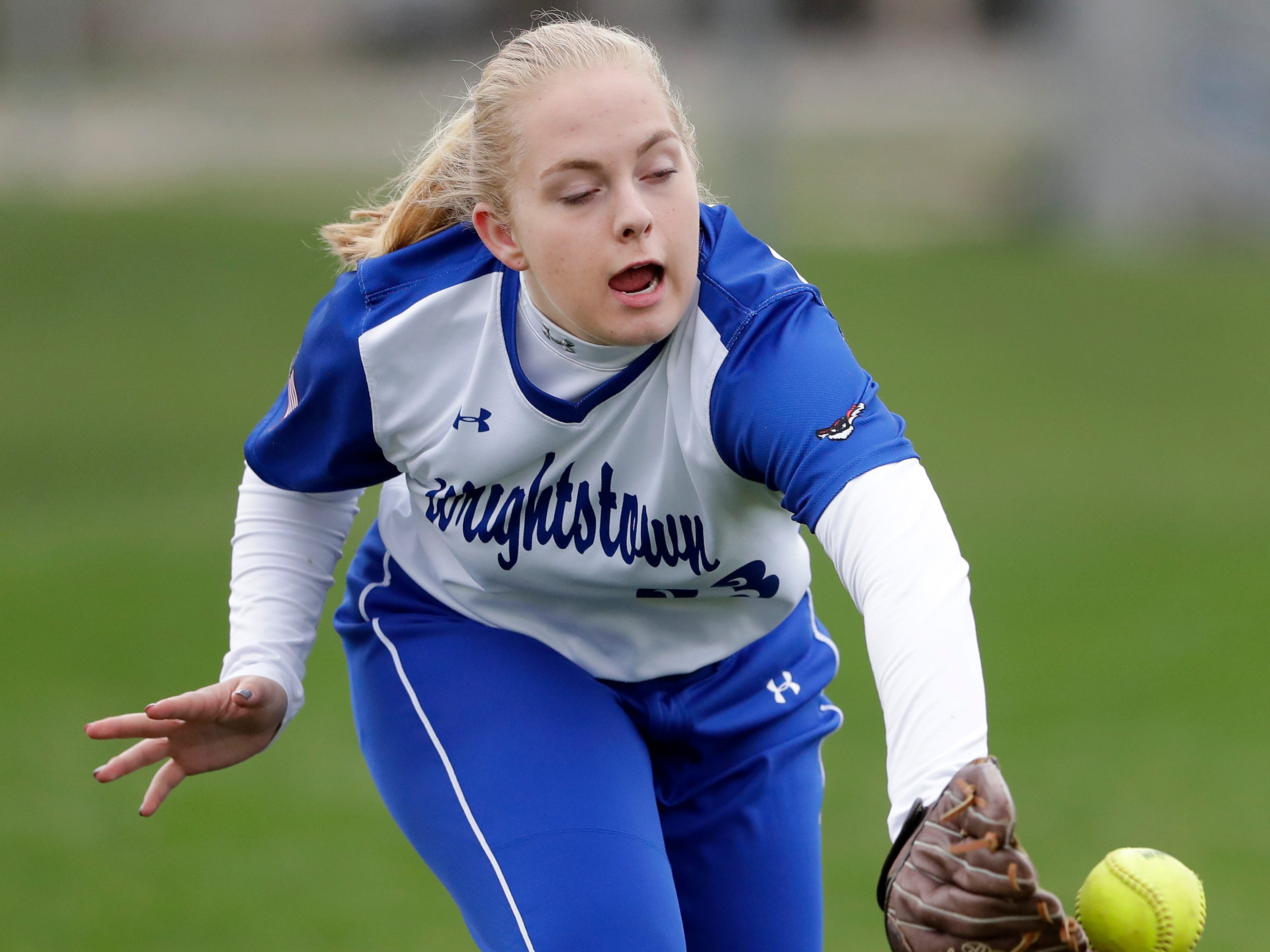Wrightstown High School's #33 Taylor De Cleene against Little Chute High School during their softball game on Friday, May 3, 2019, in Little Chute, Wis. Little Chute defeated Wrightstown 6 to 1.Wm. Glasheen/USA TODAY NETWORK-Wisconsin.