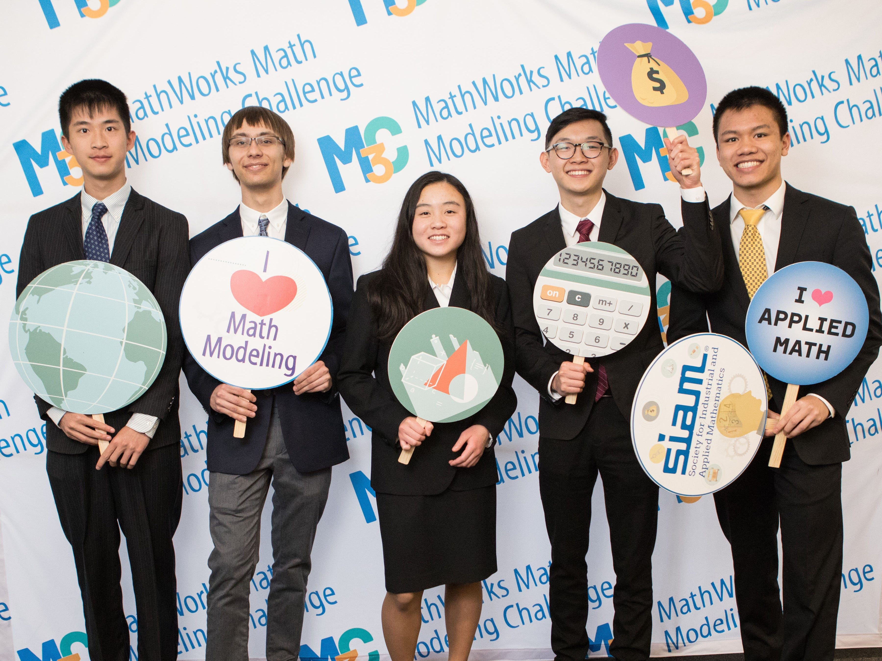A math team from High Tech High School in Lincroft won the prestigious MathWorks Math Modeling (M3) Challenge, which highlights the role of math in solving real world problems. From left: Jason Yan, Gustav Hansen, Emily Jiang, Eric Chai and Kyle Lui. The team took home the top prize of $20,000 in college scholarships during the final event in New York City on April 29.