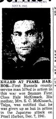 Hale McKissack's death at Pearl Harbor was noted May 8, 1945, in the Abilene Reporter-News.