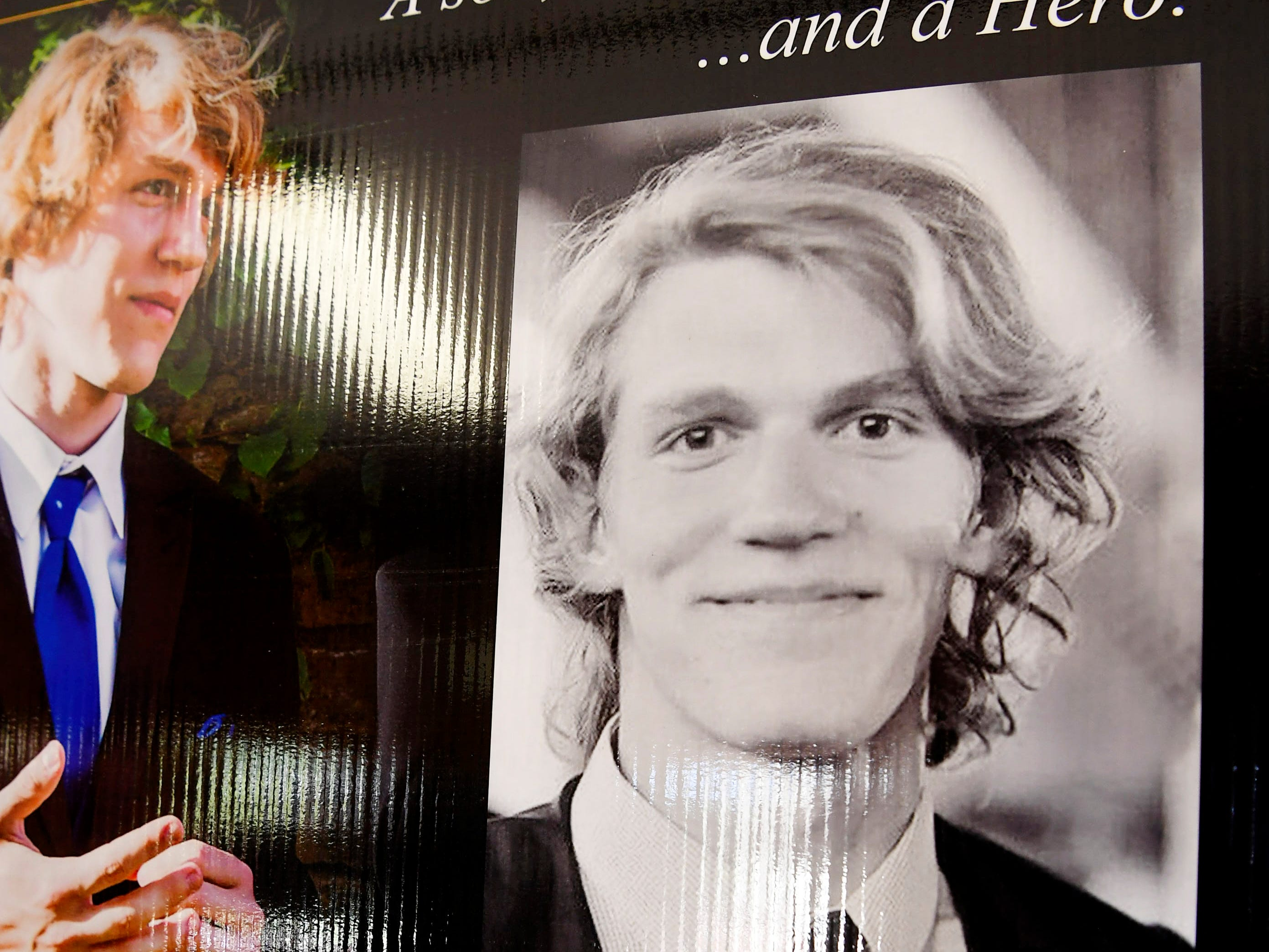 Photographs of Riley Howell at his funeral service at Stuart Auditorium in Lake Junaluska May 5, 2019.