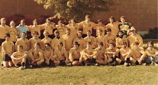 Members of the inaugural Battle Creek Griffons Rugby Football Club in 1976.