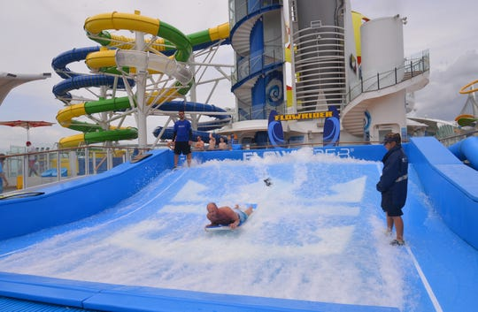 This is the FlowRider surf simulator area of Royal Caribbean's Mariner of the Seas, which was redeployed to Port Canaveral this week for three- and four-night cruises to the Bahamas.