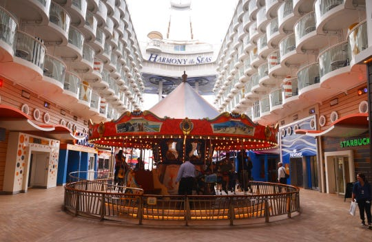 This is the Central Park area of Royal Caribbean's Harmony of the Seas, the world's second-largest cruise ship. The ship this week was redeployed to Port Canaveral for seven-day cruises to the Eastern and Western Caribbean.