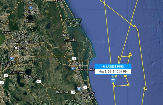 The great white shark Miss May pinged off the coast of Satellite Beach three times on May 5, 2019, aka Cinco de Mayo. Shown is the Brevard track of Miss May.