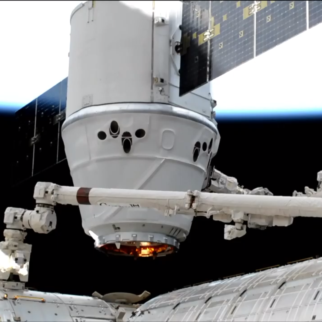 SpaceX Dragon installed at ISS after launch from Cape Canaveral