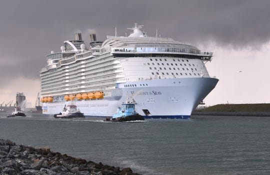 Royal Caribbean's Harmony of the Seas, then second largest cruise ship in the world, now based out of Port Canaveral, left  port just before 5 p.m. Monday.