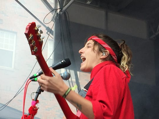 Caroline Rose performs on the main stage during the Waking Windows festival in Winooski on May 4, 2019.