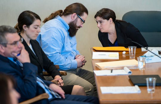 Steven Bourgoin confers with a member of his defense team in Vermont Superior Court in Burlington on Monday, May 6, 2019. Bourgoin is facing five counts of second-degree murder for a crash that killed five teenagers in I-89 in Williston in 2016.