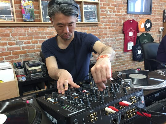 DJ Taka presents a set at Autumn Records during the Waking Windows festival in Winooski on May 5, 2019.