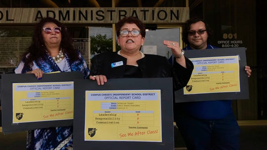 Corpus Christi American Federation of Teachers president Nancy Vera (center) displays a failing report card for Corpus Christi ISD Board President Catherine Susser outside the Corpus Christi ISD Administration Building on Monday, May 6, 2019.