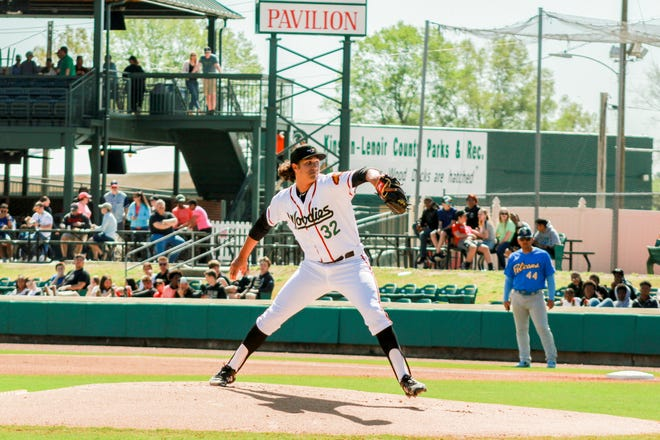 Bishop Eustace graduate Tyler Phillips pitches for the Down East Wood Ducks in the Carolina League earlier this season.