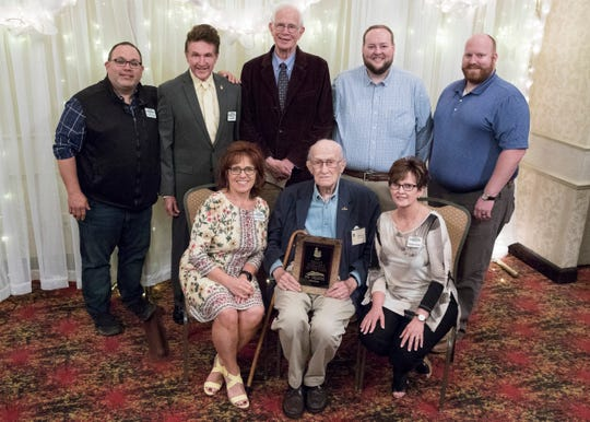 The Scioto Society took home the 2019 Grand Pineapple Award at the Christopher Conference Center in Chillicothe, Ohio, on May 6, 2019. Back row, L-R: Brandon Smith, David Polk, Dr. Richard Rooney, Ryan Adams, and Matt Dresbach. Front Row, L-R: Patti Cavender, Al Heierman, and Melody Young.