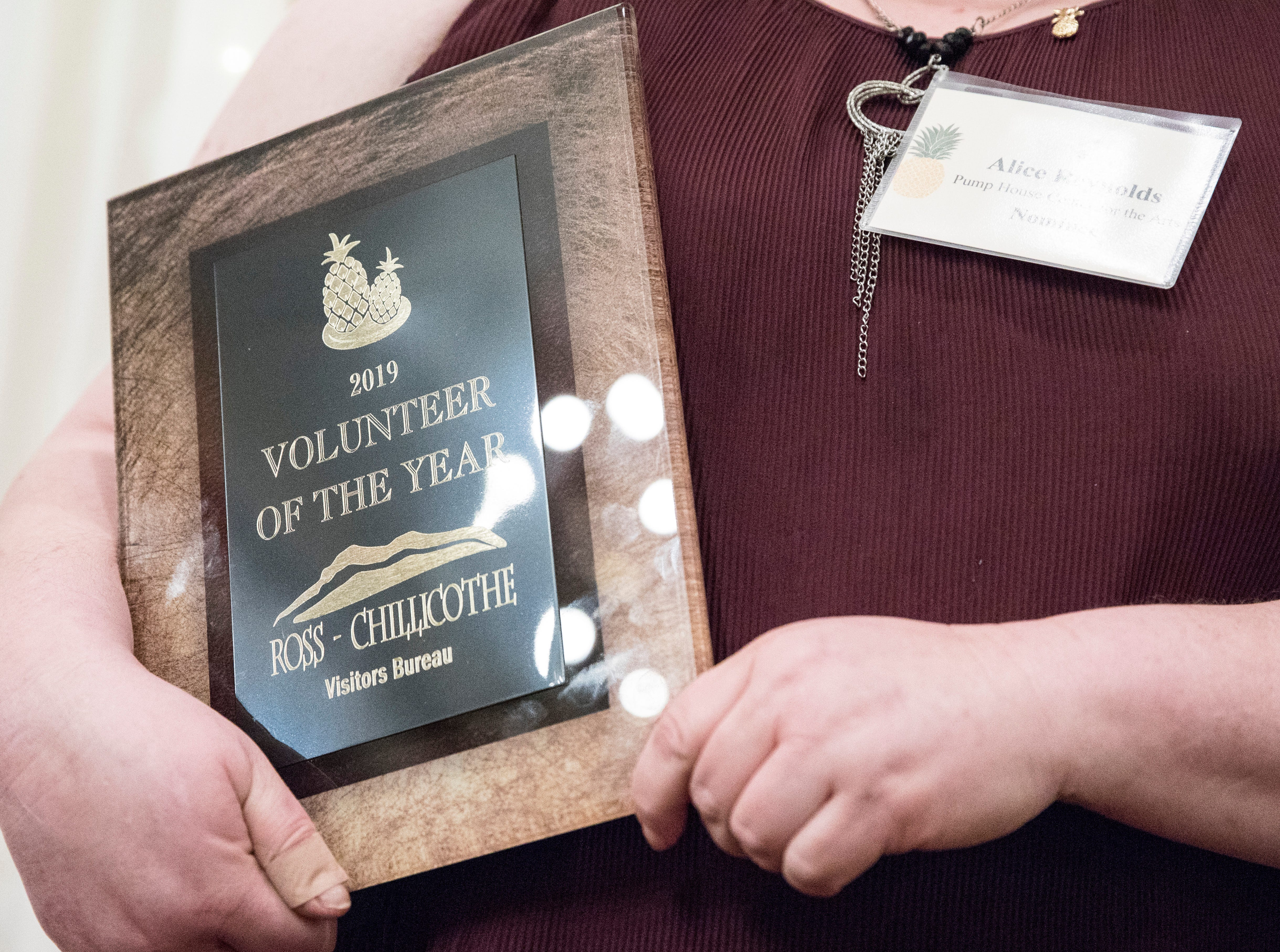 Alice Reynolds from the Pump House received the 2019 Volunteer of the Year Award at the Christopher Conference Center in Chillicothe, Ohio, on May 6, 2019.