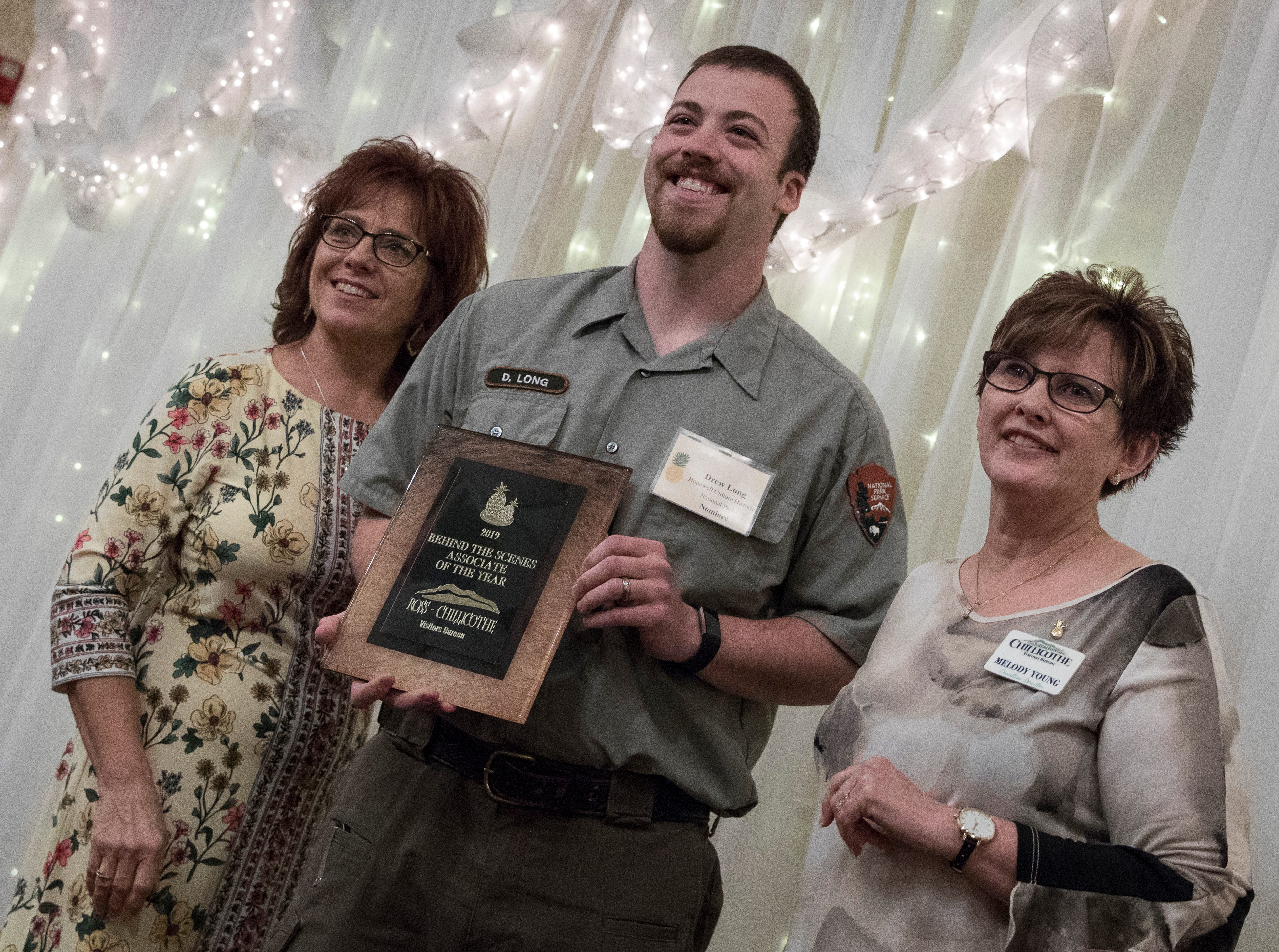 Drew Long from the Hopewell Culture Historic National Park received the 2019 Behind the Scenes Associate of the Year Award at the Christopher Conference Center in Chillicothe, Ohio, on May 6, 2019.