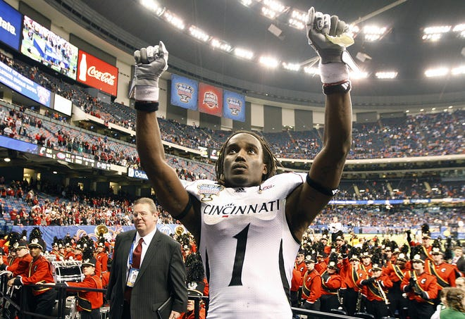 University of Cincinnati's Mardy Gilyard acknowledges UC fans after The Bearcats lost 51-24 to the Florida Gators in the Sugar Bowl at the Louisiana Superdome in New Orleans.