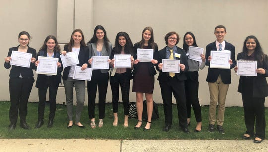 Members of the Westfield High School Youth and Government recently earned top honors at the 81st Annual New Jersey Youth and Government Conference.  L-R:  Morgan Rollins, Samara Useloff, Maggie Maguire, Madeline Stack, Grace Hutchinson, Greta McLaughlin, Mark Johnson, Kailey Zhao, Justin Anderson, and Shreya Jyotishi.
