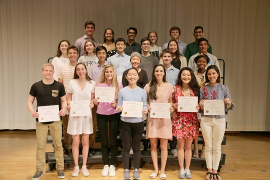 First row: Brandon Spellman, Alessia Zanobini, Caroline Santoro, Felicia Ho, Avery Didden, Kristine Fu, and Grace Brown; Second row: Ethan Malzberg, Jeffrey Xiao, Vicky Chen, Miroslav Bergam, and Annaya Baynes;  Third row: Allison Matthias, Paige Maultsby, Kevin Ma, Jackson Lubke, Darlene Fung, and Shail Avasthi;  Fourth row: Andrew Beckmen, Ketaki Tavan, Varun Seetamraju, Annette Jones, Nathan Hefner, and Aditya Gollapudi. Not pictured: Alexander Strasser