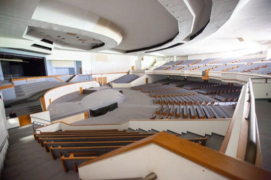 A 4,200-seat auditorium in the Franklin Jr. High building in Des Moines, shown May 6, 2019.