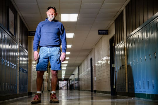 Jeff Young, owner of the Franklin Jr. High building in Des Moines stands for a photo at the building Monday, May 6, 2019.