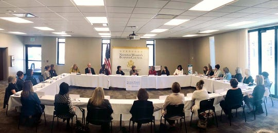 National Women's Business Council (NWBC) hosted a small business roundtable in Pella on March 21 with Sen. Joni Ernst, NWBC Chair Liz Sara, council member Barbara Kniff-McCulla, and over 15 local women business owners.