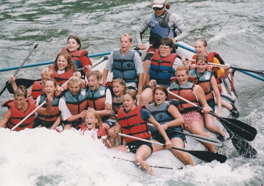 """Larry Northup, the longtime director of the Evans Travel Program, shared this picture showing a past group of students rafting on Snake River in Jackson, Wyoming, during a """"Great Western Expedition"""" trip."""