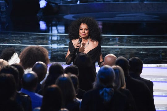 """In a Tuesday, Feb.12, 2019, file photo, Diana Ross performs during Motown 60: A GRAMMY Celebration at the Microsoft Theater in Los Angeles. Diana Ross says she feels """"violated"""" by an airport screener who touched her between her legs after she performed at the New Orleans Jazz and Heritage Festival."""